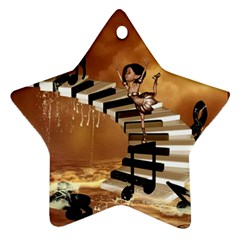 Cute Little Girl Dancing On A Piano Star Ornament (two Sides) by FantasyWorld7