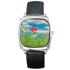 Beauty Nature Scene Photo Square Metal Watch by dflcprints