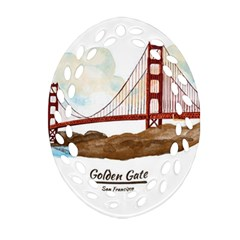 San Francisco Golden Gate Bridge Oval Filigree Ornament (two Sides) by allthingseveryday