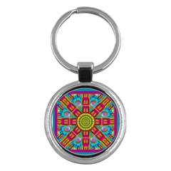 Sunny And Bohemian Sun Shines In Colors Key Chains (round)  by pepitasart