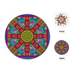 Sunny And Bohemian Sun Shines In Colors Playing Cards (round)  by pepitasart