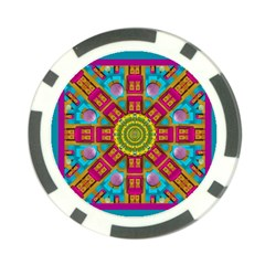 Sunny And Bohemian Sun Shines In Colors Poker Chip Card Guard by pepitasart