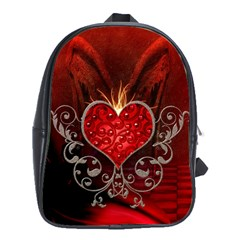 Wonderful Heart With Wings, Decorative Floral Elements School Bag (xl) by FantasyWorld7