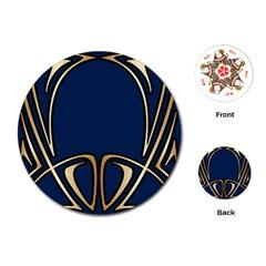 Art Nouveau,vintage,floral,belle ¨ poque,elegant,blue,gold,art Deco,modern,trendy Playing Cards (round)  by 8fugoso