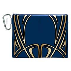 Art Nouveau,vintage,floral,belle ¨ poque,elegant,blue,gold,art Deco,modern,trendy Canvas Cosmetic Bag (xxl) by 8fugoso