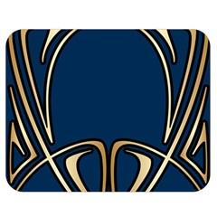 Art Nouveau,vintage,floral,belle ¨|poque,elegant,blue,gold,art Deco,modern,trendy Double Sided Flano Blanket (medium)  by 8fugoso