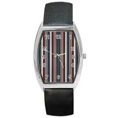 Pear Blossom Teal Orange Brown Coordinating Stripes  Barrel Style Metal Watch by ssmccurdydesigns