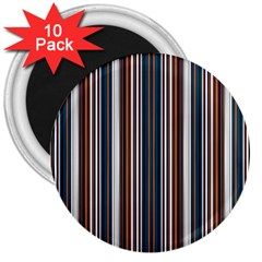 Pear Blossom Teal Orange Brown Coordinating Stripes  3  Magnets (10 Pack)  by ssmccurdydesigns
