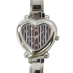 Pear Blossom Teal Orange Brown Coordinating Stripes  Heart Italian Charm Watch by ssmccurdydesigns