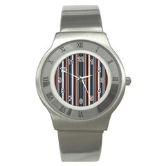 Pear Blossom Teal Orange Brown Coordinating Stripes  Stainless Steel Watch by ssmccurdydesigns