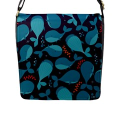 Blue Whale Pattern Flap Messenger Bag (l)  by allthingseveryday
