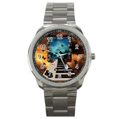 Music, Piano With Birds And Butterflies Sport Metal Watch by FantasyWorld7