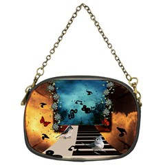 Music, Piano With Birds And Butterflies Chain Purses (one Side)  by FantasyWorld7