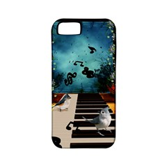 Music, Piano With Birds And Butterflies Apple Iphone 5 Classic Hardshell Case (pc+silicone) by FantasyWorld7