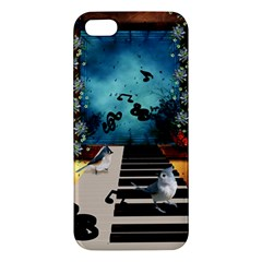 Music, Piano With Birds And Butterflies Iphone 5s/ Se Premium Hardshell Case by FantasyWorld7