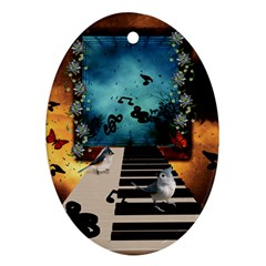 Music, Piano With Birds And Butterflies Ornament (oval) by FantasyWorld7