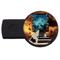 Music, Piano With Birds And Butterflies Usb Flash Drive Round (4 Gb) by FantasyWorld7