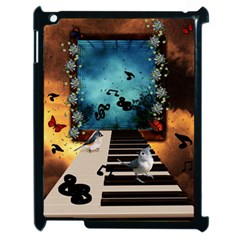 Music, Piano With Birds And Butterflies Apple Ipad 2 Case (black) by FantasyWorld7