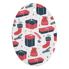 Christmas Gift Sketch Oval Ornament (two Sides) by patternstudio