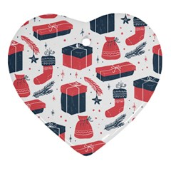 Christmas Gift Sketch Heart Ornament (two Sides) by patternstudio