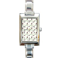 Reindeer Tree Forest Rectangle Italian Charm Watch by patternstudio