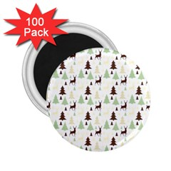 Reindeer Tree Forest 2 25  Magnets (100 Pack)  by patternstudio