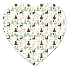 Reindeer Tree Forest Jigsaw Puzzle (heart) by patternstudio