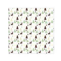 Reindeer Tree Forest Small Satin Scarf (square) by patternstudio