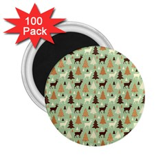 Reindeer Tree Forest Art 2 25  Magnets (100 Pack)  by patternstudio