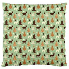 Reindeer Tree Forest Art Large Cushion Case (one Side) by patternstudio