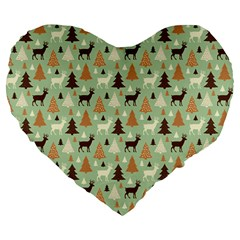 Reindeer Tree Forest Art Large 19  Premium Flano Heart Shape Cushions by patternstudio