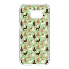 Reindeer Tree Forest Art Samsung Galaxy S7 Edge White Seamless Case by patternstudio