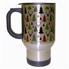 Reindeer Christmas Tree Jungle Art Travel Mug (silver Gray) by patternstudio