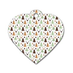 Reindeer Christmas Tree Jungle Art Dog Tag Heart (two Sides) by patternstudio