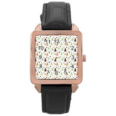 Reindeer Christmas Tree Jungle Art Rose Gold Leather Watch  by patternstudio