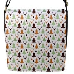 Reindeer Christmas Tree Jungle Art Flap Messenger Bag (s) by patternstudio