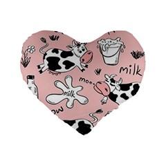 Fresh Milk Cow Pattern Standard 16  Premium Flano Heart Shape Cushions by allthingseveryday