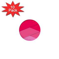 Geometric Shapes Magenta Pink Rose 1  Mini Buttons (10 Pack)  by Celenk