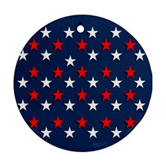Patriotic Colors America Usa Red Round Ornament (two Sides) by Celenk