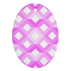 Geometric Chevrons Angles Pink Oval Ornament (two Sides) by Celenk