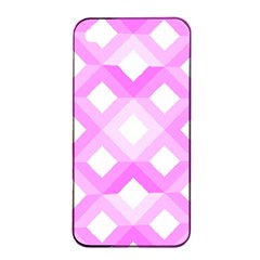Geometric Chevrons Angles Pink Apple Iphone 4/4s Seamless Case (black) by Celenk