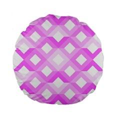 Geometric Chevrons Angles Pink Standard 15  Premium Flano Round Cushions by Celenk