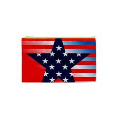 Patriotic American Usa Design Red Cosmetic Bag (xs) by Celenk