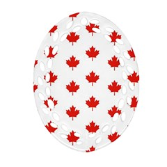 Maple Leaf Canada Emblem Country Oval Filigree Ornament (two Sides) by Celenk
