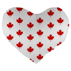 Maple Leaf Canada Emblem Country Large 19  Premium Heart Shape Cushions by Celenk