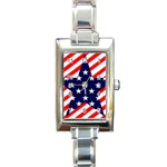 Patriotic Usa Stars Stripes Red Rectangle Italian Charm Watch