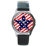 Patriotic Usa Stars Stripes Red Round Metal Watch