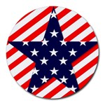 Patriotic Usa Stars Stripes Red Round Mousepads