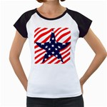 Patriotic Usa Stars Stripes Red Women s Cap Sleeve T