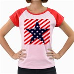 Patriotic Usa Stars Stripes Red Women s Cap Sleeve T-Shirt